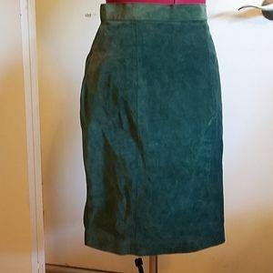 VINTAGE 1990'S Grunge Suede Leather Pencil Skirt